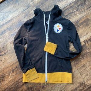 Girls Hooded light Steelers NFL jacket size 8/10